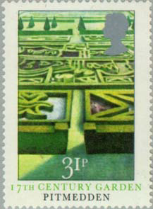 Picture of stamp showing Pitmedden gardens